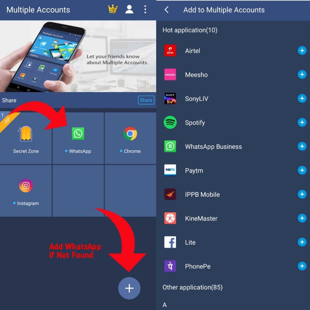 add whatsapp to multiple account