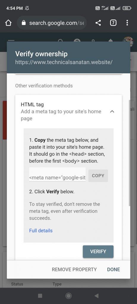click on verify