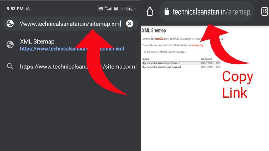 copy sitemap url