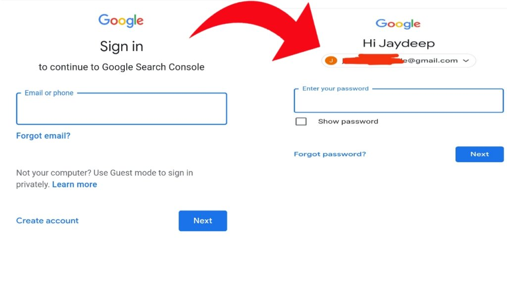create account on search console