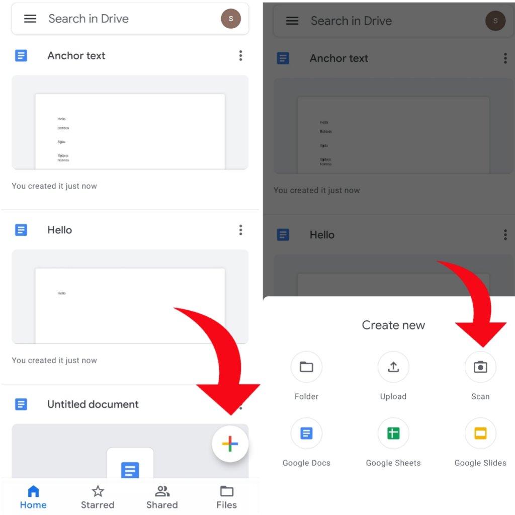 open google drive to create pdf