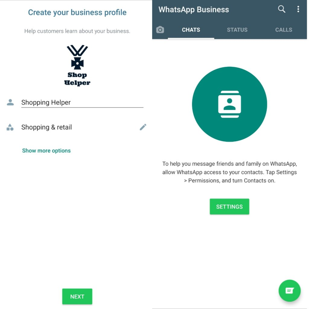 set dp and name of whatsapp business to use whatsapp